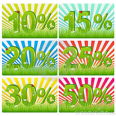 Free Discount Cards With Green Figures. Vector Stock Photos - 14525973