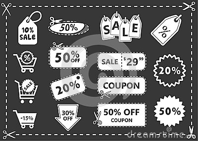 Discount icons set, shopping and discount coupons, offer price Vector Illustration