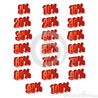 Free Discount Numbers 3d Vector. Red Sale Percentage Icon Set In 3D Style Isolated On White Background. 10 Percent Off, 15 Off And 20 P Stock Image - 87983301