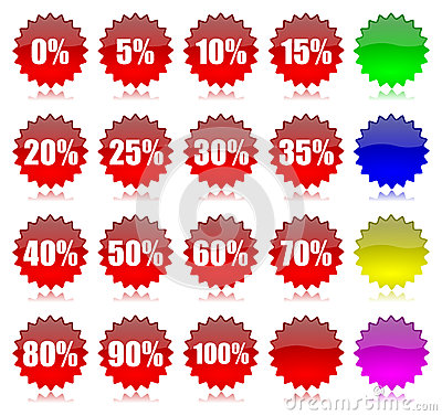 Discount percentage icons set