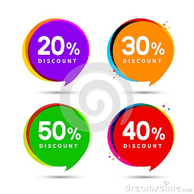 Discount price sale bubble banners. Price tags label. Special offer flat promotion sign design Vector Illustration
