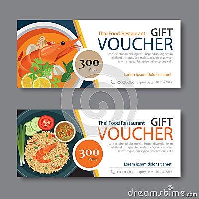 Discount Voucher Template With Thai Food Flat Design Vector – Lunch Voucher Template