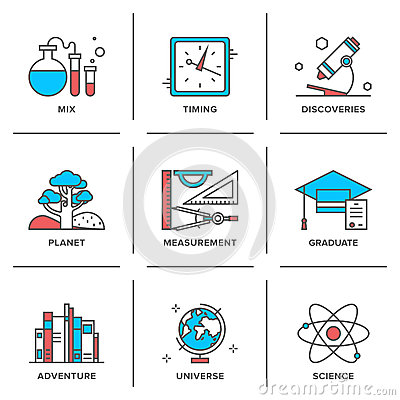 Free Discovery And Science Line Icons Set Royalty Free Stock Photography - 45870987