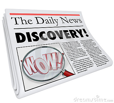 Discovery Newspaper Headline Announcing Surprising News