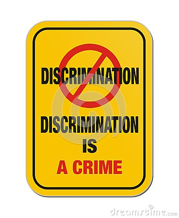 Free Discrimination Is A Crime Yellow Sign Stock Photo - 32321180