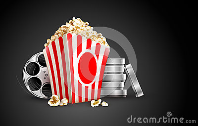 Discs with film tape reel and popcorn