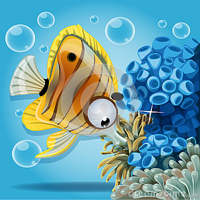 Discus fish on a blue background with anemones