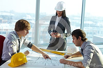 Discussing plan of housing