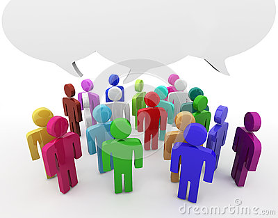 Discussion, blank speech bubbles Stock Photo