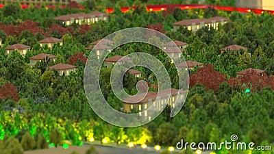 Diseño de las calles de la ciudad, zonas verdes, rascacielos, edificios, líneas eléctricas Diseño de la ciudad con árboles en min metrajes