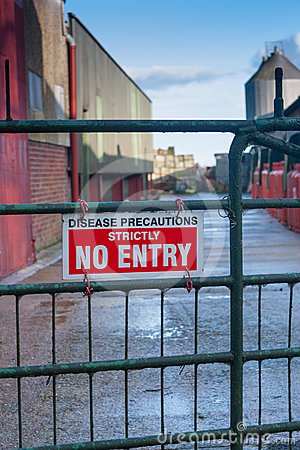 Disease Precautions Strictly No Entry sign