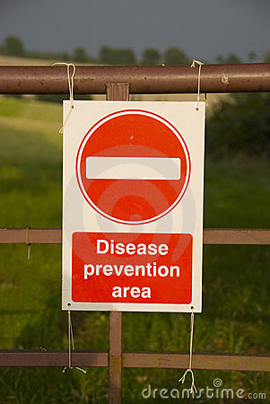 Disease prevention area sign