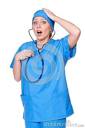 Diseased nurse listening her heart