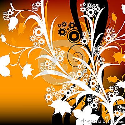 Composizione floreale astratta; disegno con i cerchi ed i fiori