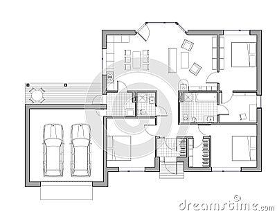 disegno casa unifamiliare illustrazione di stock On programma disegno casa
