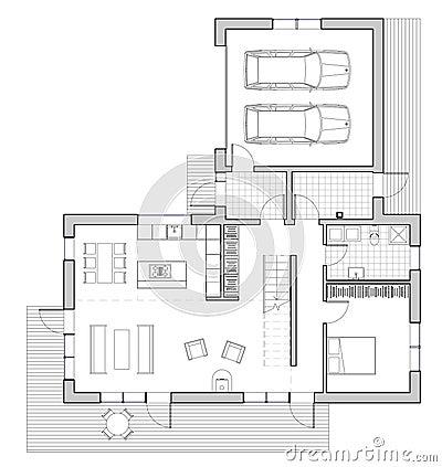 Disegno casa unifamiliare illustrazione di stock - Disegno pianta casa ...