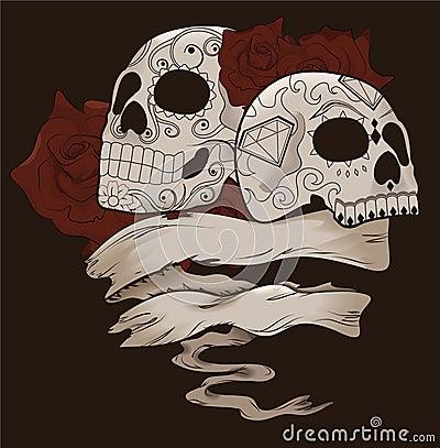 Disegno del cranio dello zucchero con le rose e la bandiera
