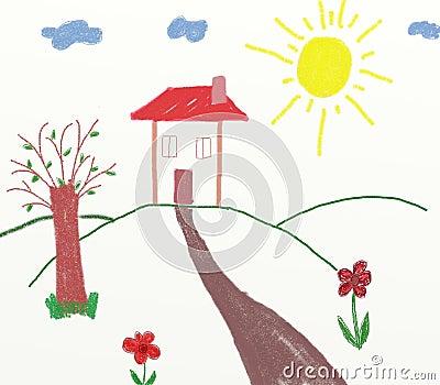 Disegno di casa dei bambini della campagna fotografia for Programma di disegno della casa libera