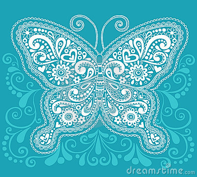 Disegno di Doodle della farfalla di Mehndi Paisley del hennè