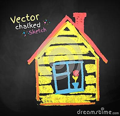Disegno di gesso della casa illustrazione vettoriale for Disegno della casa di architettura