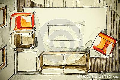 Disegno di schizzo a mano libera dell 39 inchiostro dell for Schizzo di piani di casa gratuiti