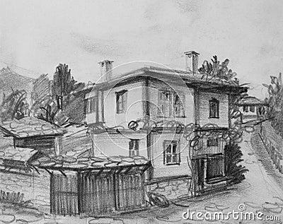 disegno di vecchia camera bulgara tradizionale immagine
