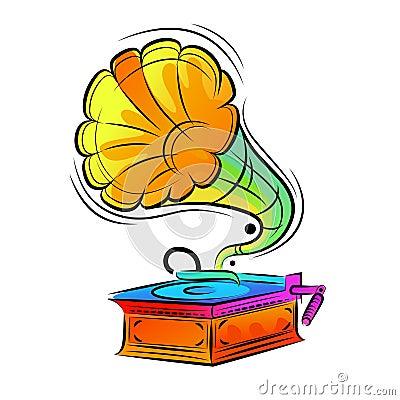 Diseño colorido del gramófono
