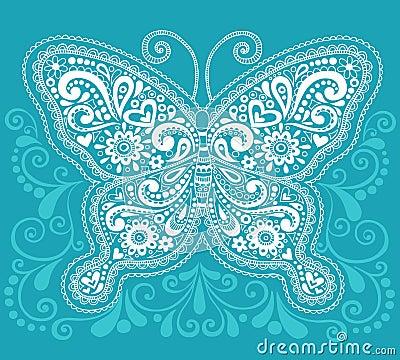 Diseño del Doodle de la mariposa de Mehndi Paisley de la alheña