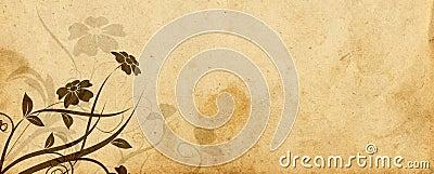 Diseño floral y pergamino viejo