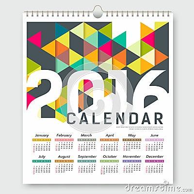 Dise o geom trico del tri ngulo colorido del calendario - Disenos de calendarios ...