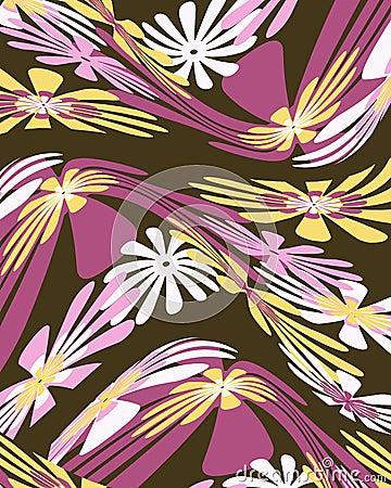 Diseño gráfico floral torcido retro