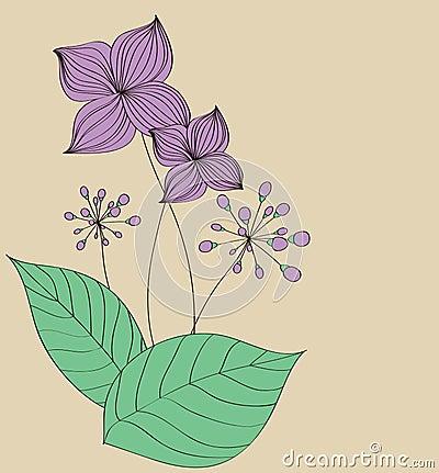 Diseño púrpura del modelo de la tarjeta de la flor