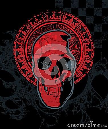 Cráneo rojo del inspector con halo