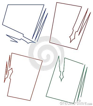 Diseños del marco del papel y de la pluma