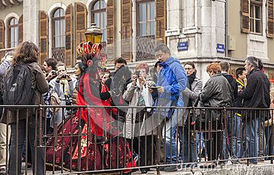 Disguised Person in the Crowd Editorial Photo