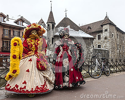 Disguised Persons in Annecy Editorial Stock Photo