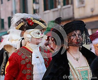 Disguised Venetian People Editorial Stock Image