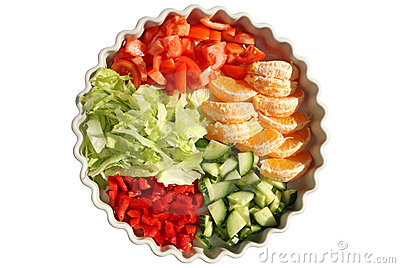 Dish of 5 portions of salad and fruit.
