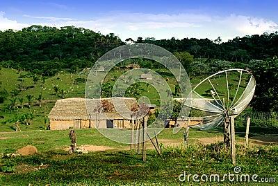 Dish antenna in village