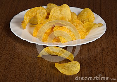 Dish with appetizing chips