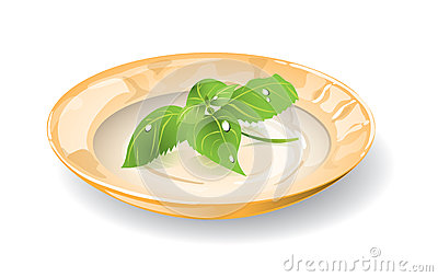 Dish with basil