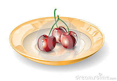 Dish with cherries