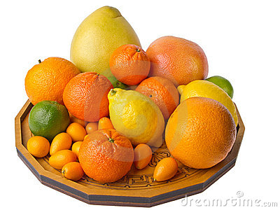 Dish with citrus fruits