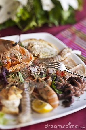 Dish of crustaceans and shellfish