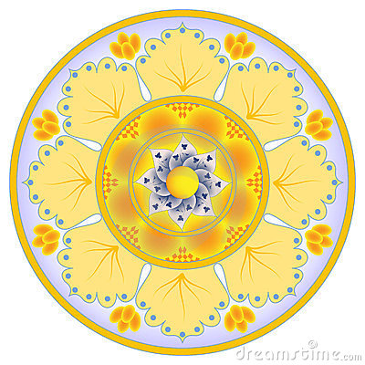 Free Dish Decoration With Abstract Orange Flower Royalty Free Stock Images - 24136969
