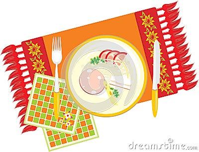 Dish on the decorative serviette. Dinner