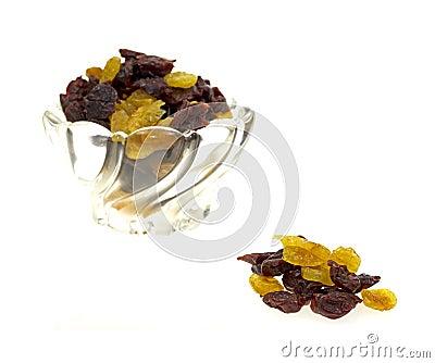 Dish of dried sweet cherries