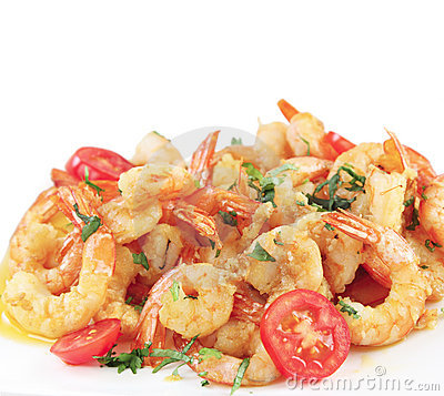 A dish of fried shrimps isolated