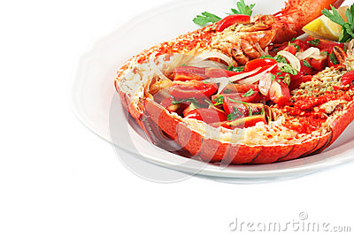 Dish with lobster