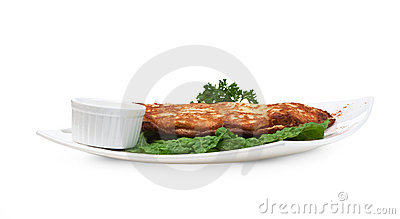Dish of pancakes with vegetables Stock Photo